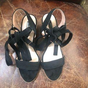 Topshop black suede ankle wrap self tie sandals 8